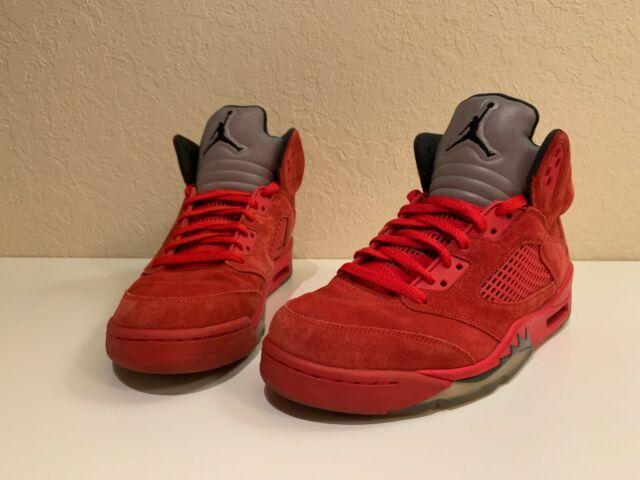 huge selection of 32871 91a8c Nike Air Jordan 5 Retro V Flight Suit Red Suede Aj5 Mens Shoes Sz 10  136027-602