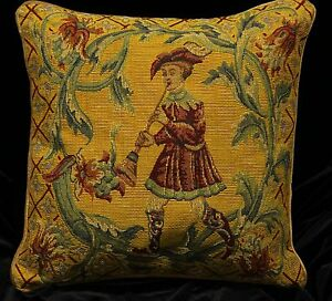 """Piped TAPESTRY SCATTER CUSHION Cover BOY with FLUTE 42cm 17/"""" Medieval Design"""