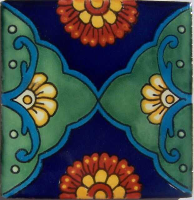 "90  4x4"" Handmade Ceramic Tile Mexican Folk Art C324"