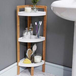 Image Is Loading Wooden 3 Tier Bathroom Corner Caddy Shower Shelves