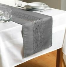 "Silver/Grey Embroidered Taffeta Table Runner 70"" x 13""  (180cms x 33cms)"