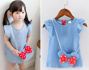 b01438988db 2Pcs Baby Girls Kids Newborn Toddler Satchel Bag Denim Dress Tops ...