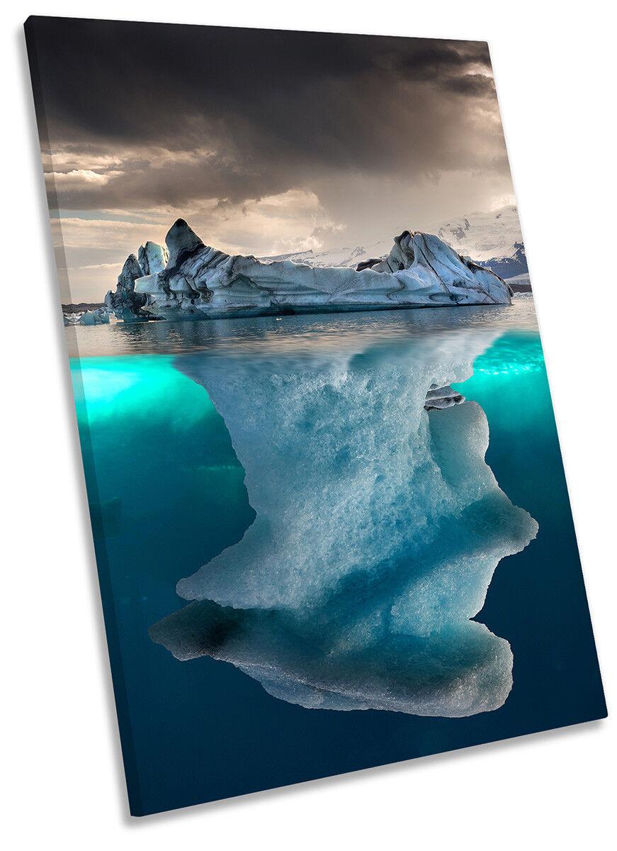 Ocean Iceberg Glacier Picture CANVAS WALL ART Portrait Print
