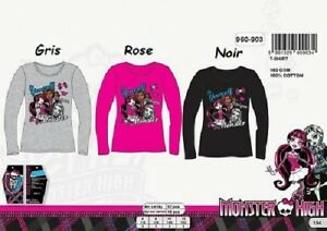 12-ans-GRIS-T-shirt-m-longues-Monster-High-NEUF-l-039-unite-100-coton