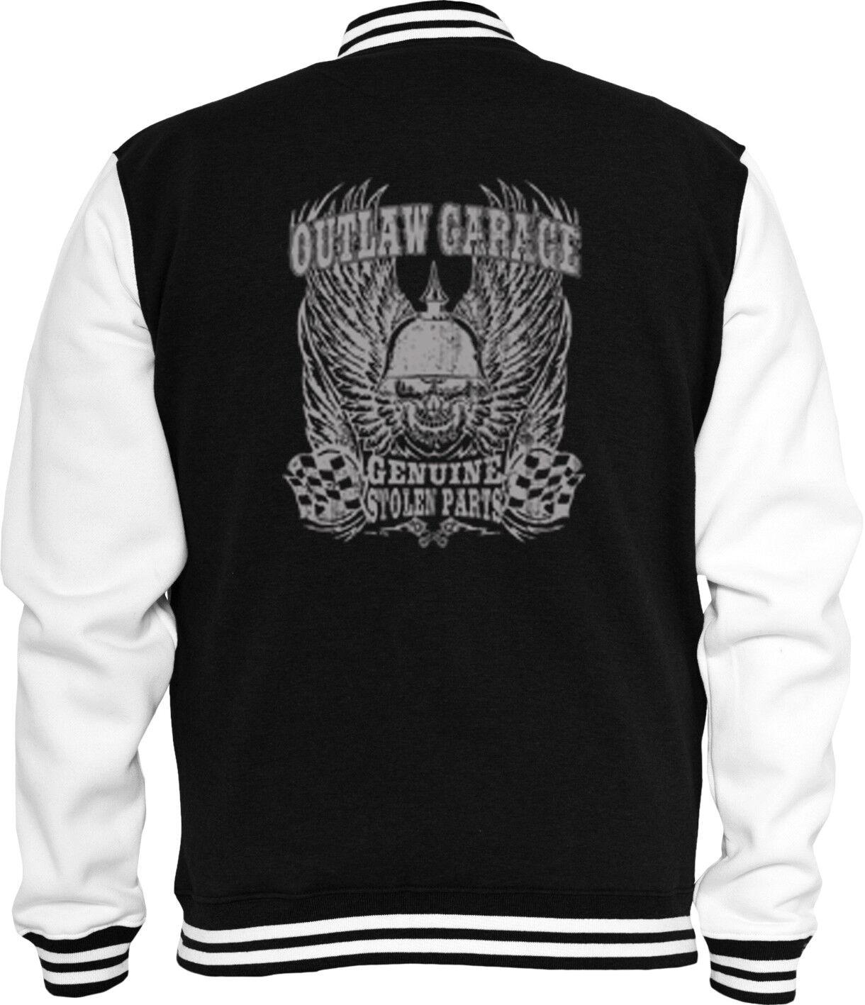 Biker Sweat College Jacke Outlaw Garage Chopper Motorcycle Skull V8