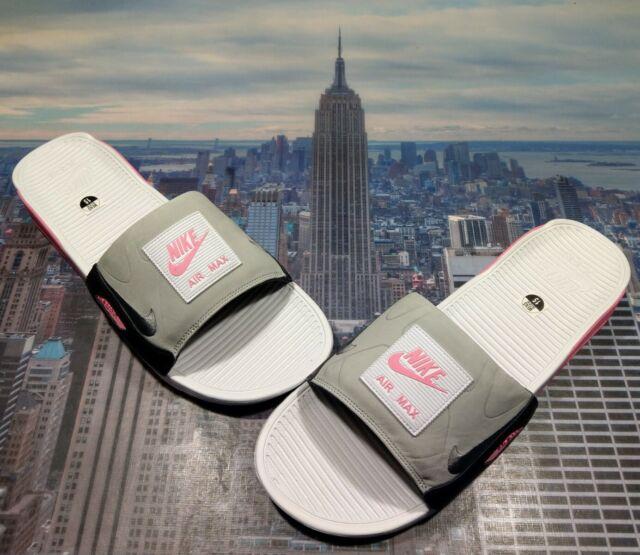 Nike Air Max 90 Slides White Smoke Grey Rose Bq4635 100 Mens Size ...