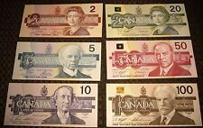 1986-1991 Bank of Canada Bird Series $2 AUK,$5,$10,$20,$50 $100 6 Note Set