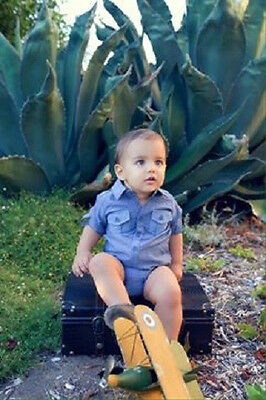 Baby Boy Fall Dressy Solid Blue Cotton Jeans Shirt Bodysuit  - 3 - 12 months