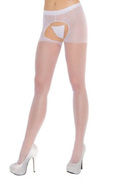 Sheer Crotchless Pantyhose Nylons Stockings Hosiery Black White Nude Red 1726