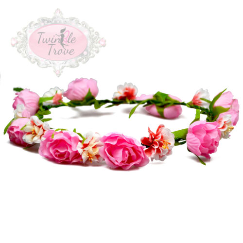 Vintage Rose /& Carnation Hair Head Garlands Accessory Festival Bridal Wedding