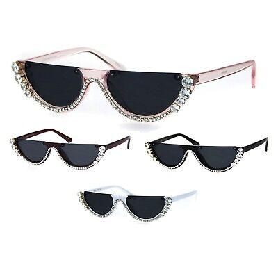Rhinestone Tennis Iced Chain Crop Flat Top Cat Eye Goth Sunglasses