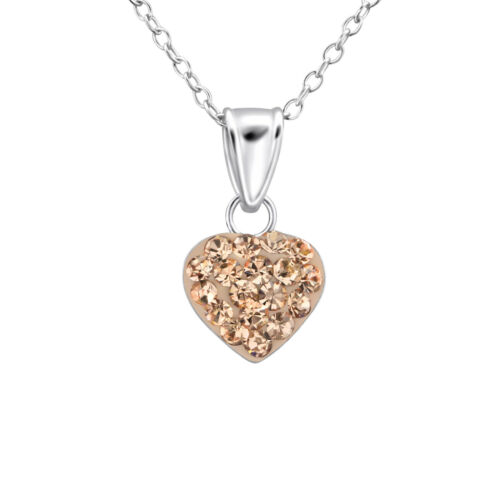 Childrens Sterling Silver Necklace Genuine 925 Unicorn Crystal Heart Christmas