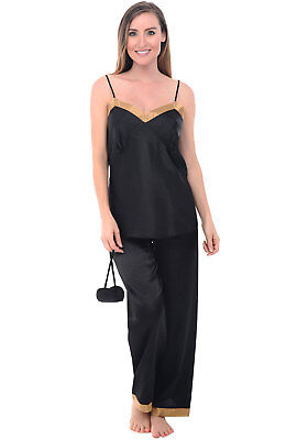 Alexander Del Rossa Women s Black Satin Pajamas 15448409a
