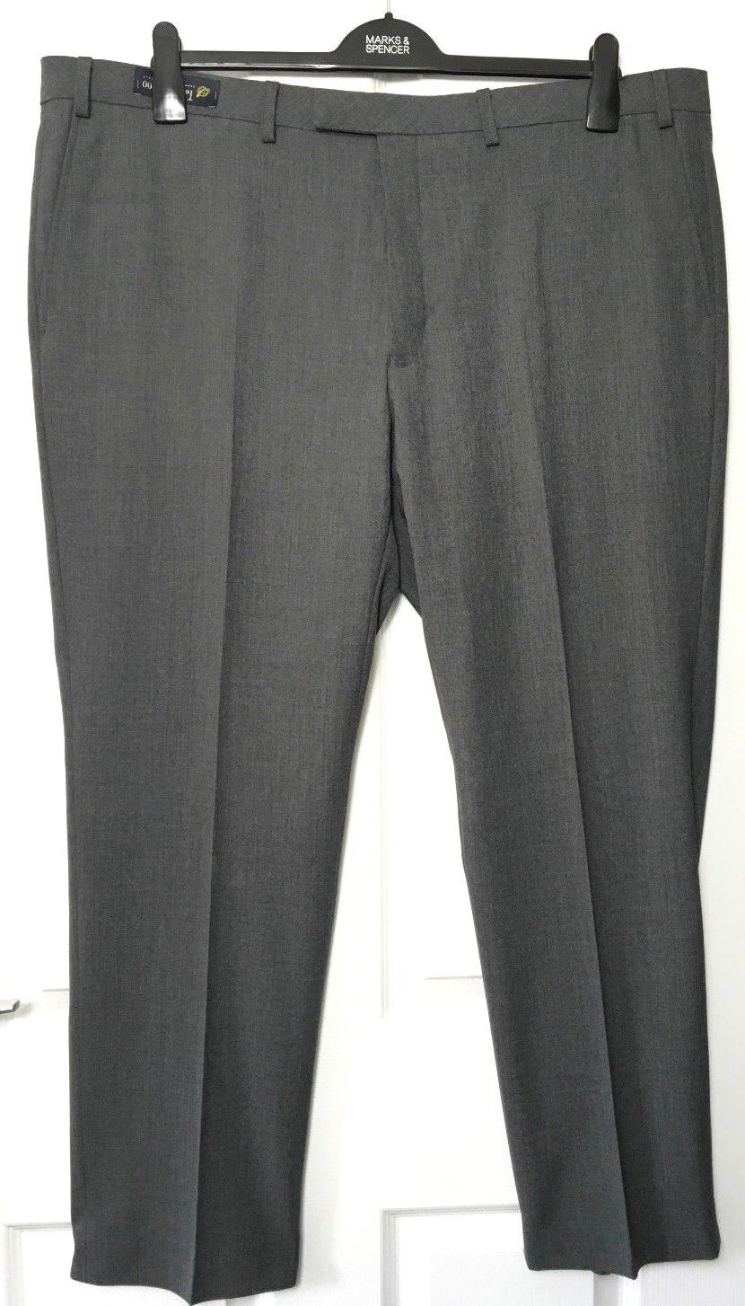 M&S Marks Marks Marks W44 L31  Men grau Saville Row Luxe Flat Front Wool Trousers BNWOT bf538d