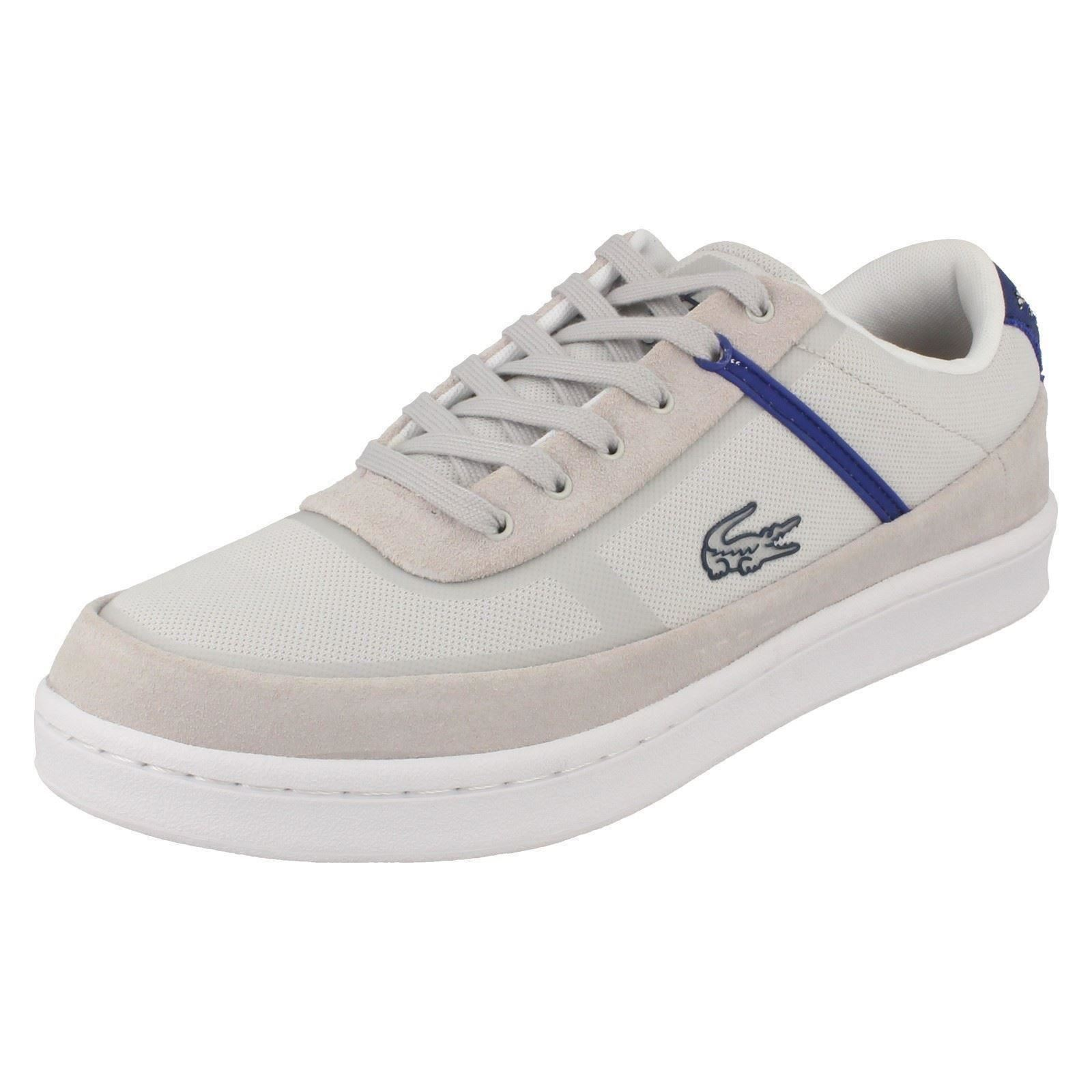 Lacoste Court Line Mens Light Grey bluee Lace Up Trainers (R9B)