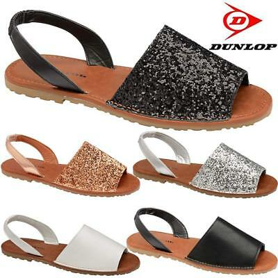 New Womens Ladies Glitter Slingback Flat Menorcan Open Toe Spanish Sandals Shoes | eBay