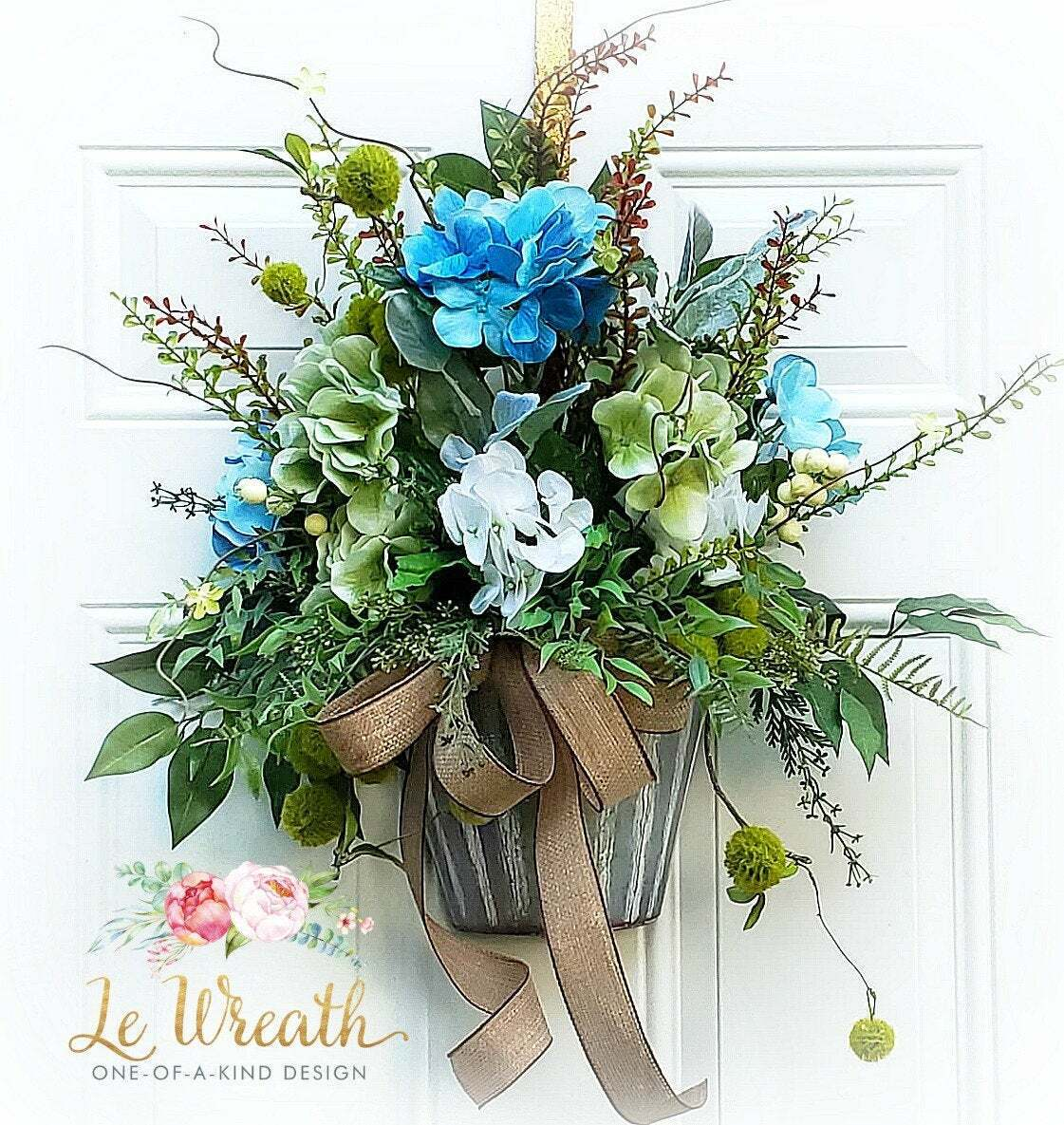 Farmhouse Hydrangea Floral Wall Decor Door Wreath Hanger Blau Weiß Home NEW