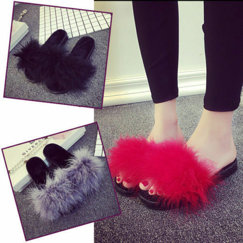 Women's Fur Fluffy Sliders Marabou Mules Slip On Sandals Feather Sliders Fluffy Slippers Size e64d4a
