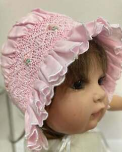 NWT Will'beth Newborn Infant Baby Girl Smocked Pink Embroidered Bonnet 0-3m Doll