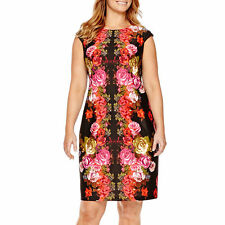 London Style Collection-Cap-Sleeve Floral,Scuba Shealth Dress, Plus-size: 20W