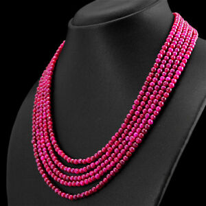 290-00-CTS-EARTH-MINED-RICH-RED-RUBY-5-STRAND-ROUND-BEADS-HAND-MADE-NECKLACE