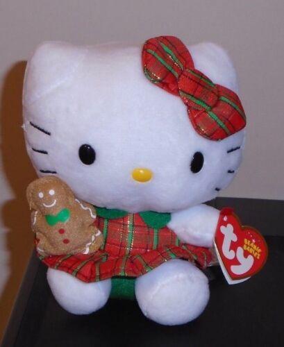 Plaid Christmas Dress NEW MWMT Ty Beanie Baby ~ HELLO KITTY 6 Inch