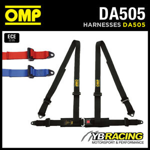 DA505-OMP-039-ROAD-4-039-HARNESS-ROAD-CAR-BELTS-4-POINT-BOLT-IN-RED-BLACK-BLUE