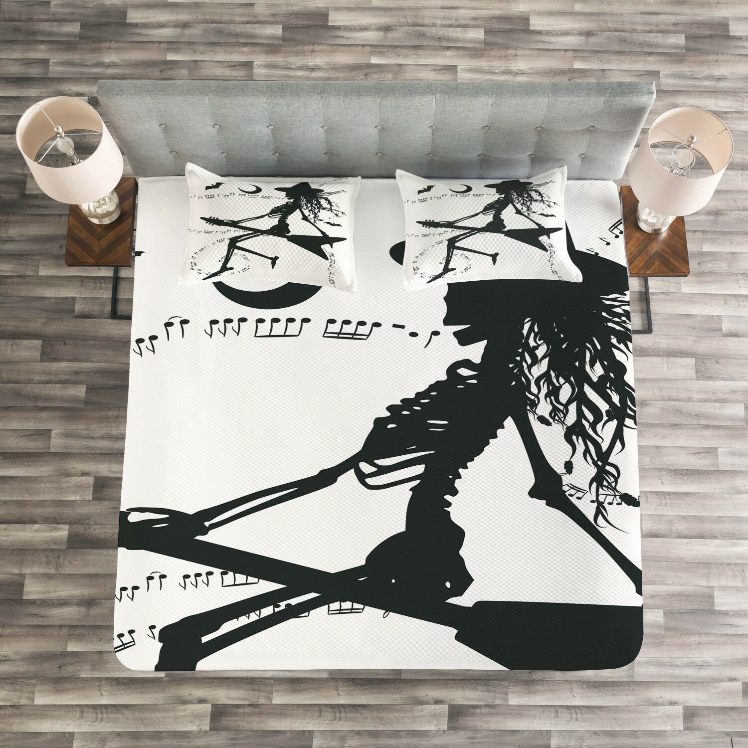 Music Quilted Bedspread & Pillow Shams Set, Witch on Guitar Print