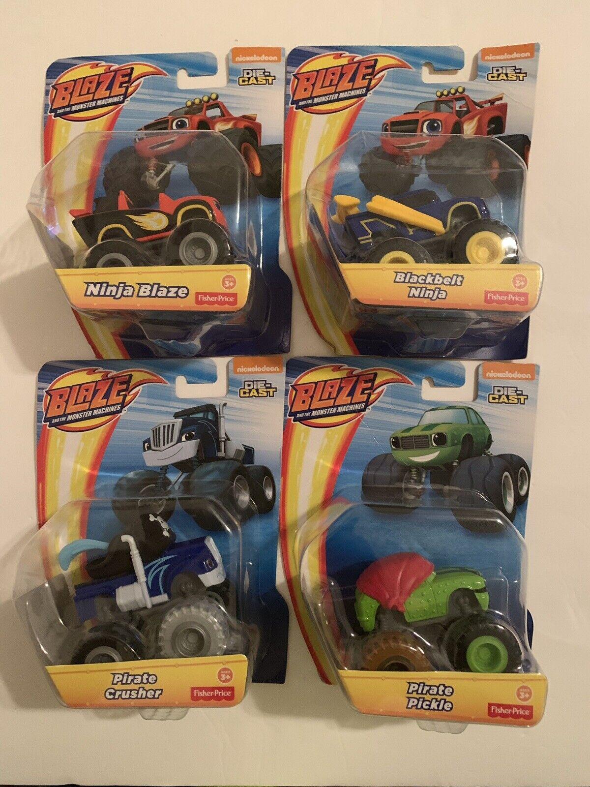 Blaze y el monstruo máquinas-Lote de 4-Camión de Bomberos, Ninja, pirata
