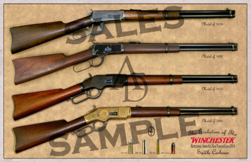 Winchester Evolution of the Saddle Carbines Poster 11 x 17
