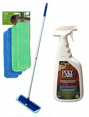 4 Pads Swivel Microfiber Mop Kit+PolyCare Hardwood n Laminate Floor Cleaner 32oz