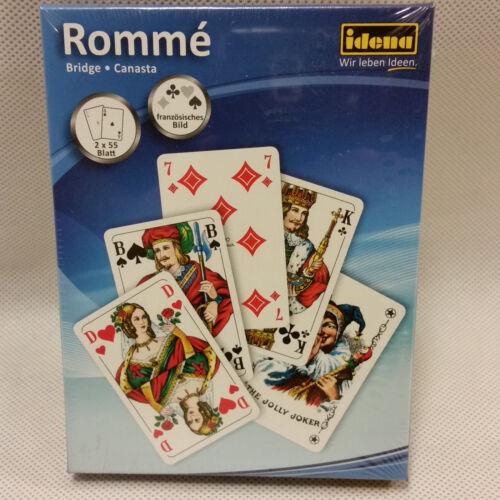 Spielkarten französiches Blatt Rommékarten Rommé Bridge Canasta 2x55 Blatt