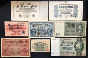 Germany Germania 1 + 2 + 5 + 10 + 20 + 50 +100 + 500 Mark 1914-1933 Lotto 439