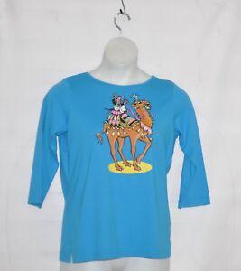 c696c5696700 Bob Mackie 3 4 Sleeve Camel Printed T-shirt with Embellishment Size ...
