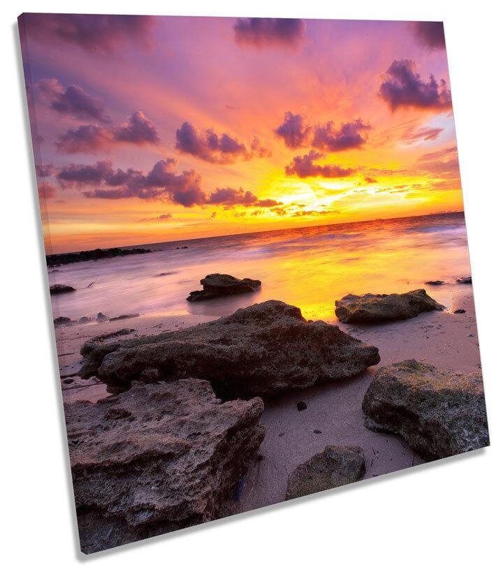 Playa de rocas, ATARDECER EN EN EN PAISAJE Plaza tela parojo arte En Caja Enmarcado 23e5ad