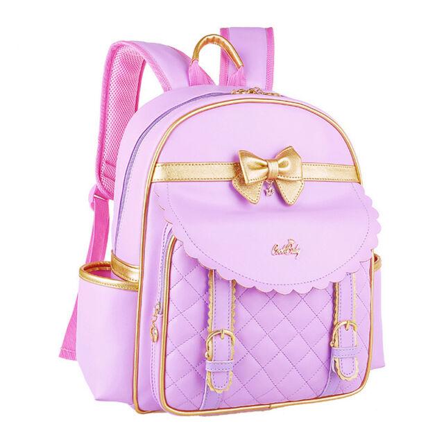 Fashion Kids Girls Princess PU Pupil School Shoulder Bags Backpack Bowknot Gift