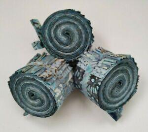 "20 x 2.5/"" Strips Tones of Grey 100 /% Cotton Batik Mini JELLY ROLL"