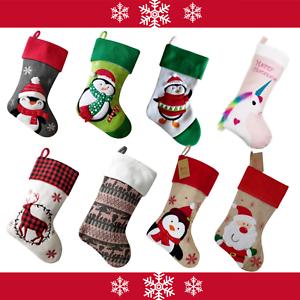 UK Christmas STOCKINGS Embroidered Santa Xmas Socks Gift Filler Bag Deluxe Soft