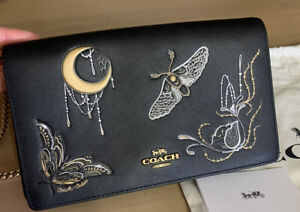COACH Callie Foldover Chain Clutch w Metal Tea Rose