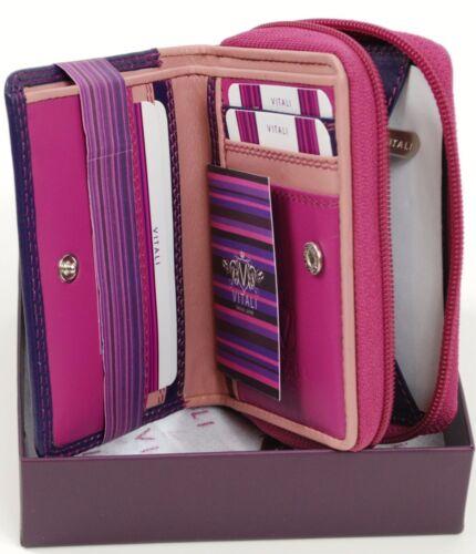 Ladies Soft Luxury Italian Small Leather Purple Purse