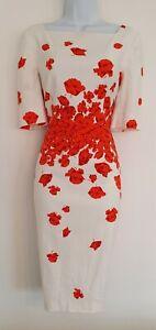 LK-Bennett-Naranja-Rojo-Amapola-Para-Mujer-Cuello-Cuadrado-Vestido-Lapiz-Elastico-ocasion-12