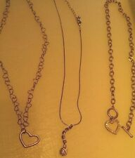 Woman's Girls Pendants Hearts Necklace Bling Chain Metal Chain NICE E LOT OF 3