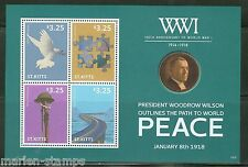 ST. KITTS   2014 100 YEARS WORLD WAR I WOODROW WILSON  PEACE SHEET MINT NH