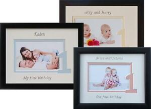 Personalised My First Birthday Photo Frame Gift 9 X 7 Baby Boy Girl Or