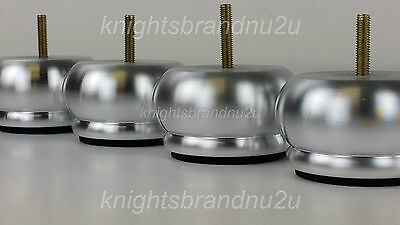 4x BRUSHED CHROME BUN FEET LEGS FOR BEDS, SOFAS, SETTEES, CHAIRS, FOOTSTOOLS M8