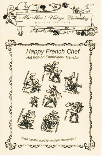 M122 Happy French Chef towel Kitchen DOW Embroidery transfer pattern