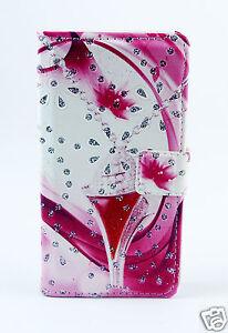 Samsung-Galaxy-S8-G950-Case-Flip-Etui-Tasche-Huelle-pink-rosa-Strass-Motiv