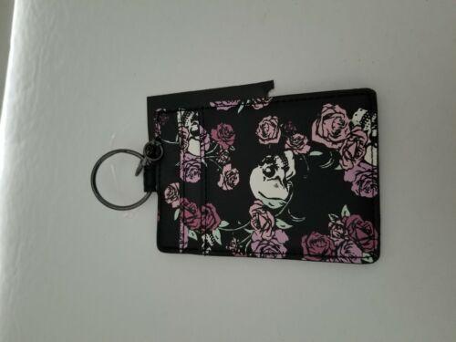 Black Skulls Pink Roses Card Holder Wallet 2 Slots