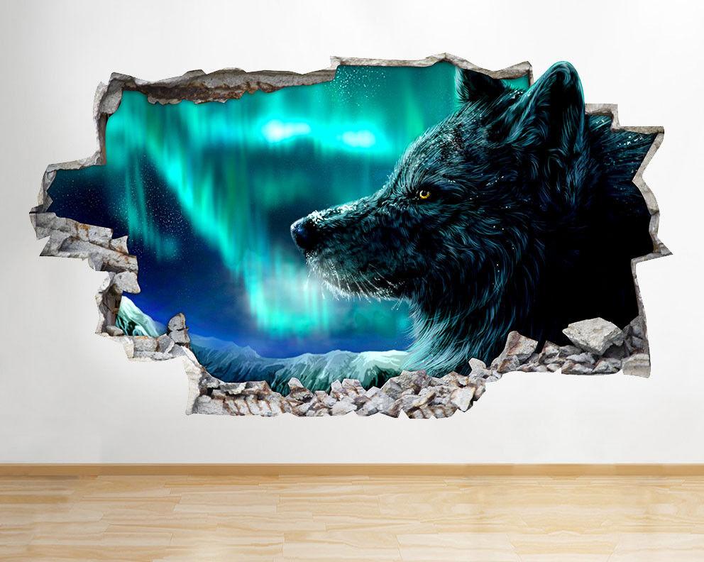 F572 Loup Aurora Lumières neige ciel Smash Autocollant Chambre 3D Vinyle enfants