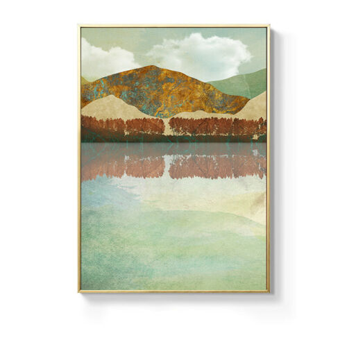 Modern Abstract Canvas Poster Mountain Forest Sunset Landscape Nordic Art Print